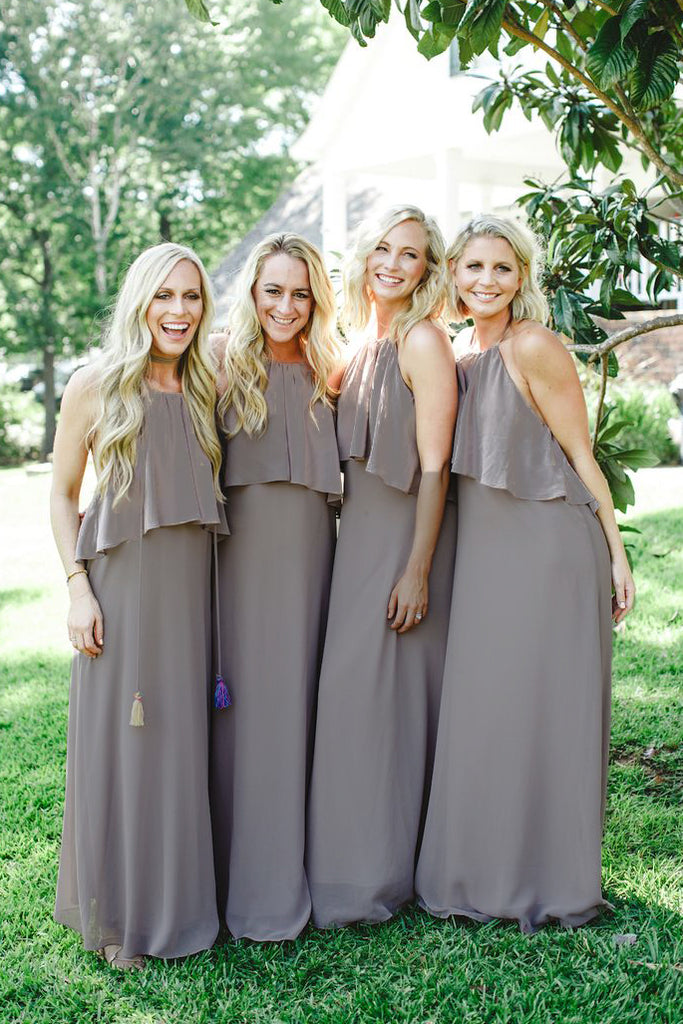 Trendy Light Slate Gray Spaghetti Straps Long Chiffon Bridesmaid Dresses with Fringe,N582