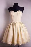 Light Yellow Sweetheart Lace Appliques Short Prom Dress, New Strapless Homecoming Dress