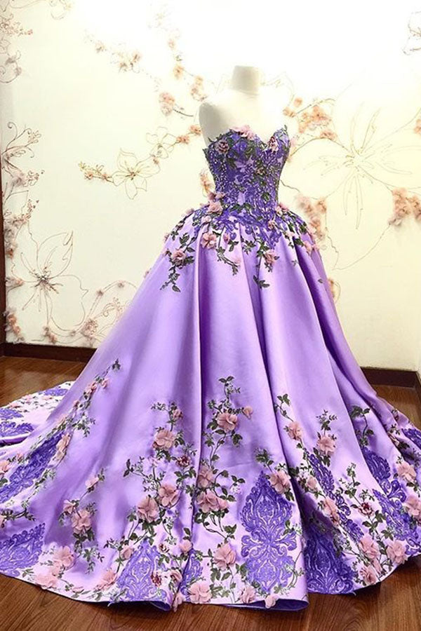 Lilac Ball Gown Sweetheart Prom Dress, Gorgeous Party Dress with Lace Appliques