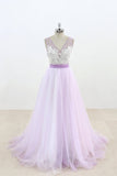 Lilac V Neck Sleeveless Tulle Wedding Dress Lace Appliqued Bridal Gown with Belt N817