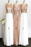 Rose Gold Long White Chiffon Bridesmaid Dresses,Sleeveless V-neck Sequined Bridesmaid Dress,N331