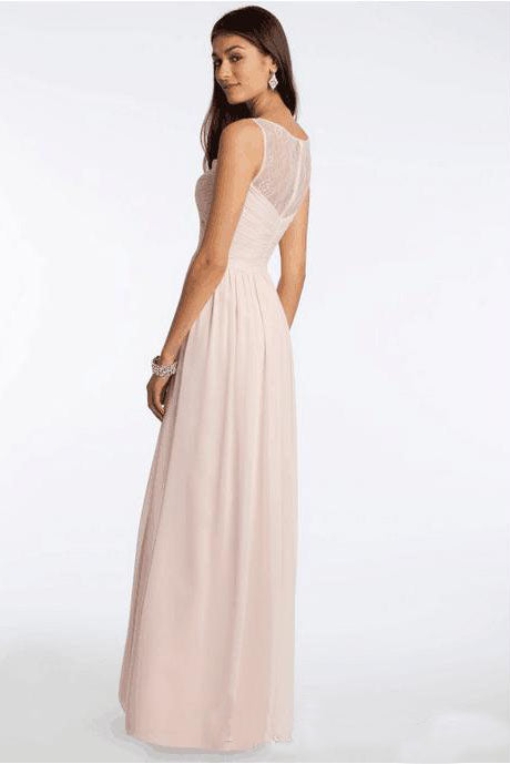 Different Styles Chiffon Blush Pink Formal Floor-Length Cheap Bridesmaid Dresses,N695