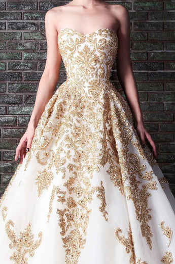 Floor Length Sweetheart Tulle Prom Dress with Gold Lace Appliques, Long Wedding Dress N1454