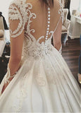Attractive design Sheer Neck Long Illusion Sleeve Satin Wedding Dress with Applique,N652
