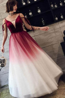 Ombre Long Tulle Prom Dress, Unique V Neck Sleeveless Party Dresses, Dance Dress N1598