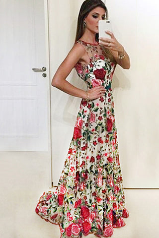 7eb8b2553ab96 A Line Sleeveless Prom Dress with Embroidery, Long Evening Dresses with Red  Flowers N1408