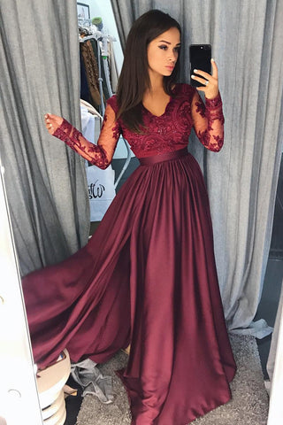 Maroon Long Sleeve V-neck Prom Dress with Lace Banquet Gown with Slit,N623