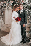 A-Line Ivory Sweep Train Tulle Long Sleeves Beach Wedding Dresses with Ruffles N1232