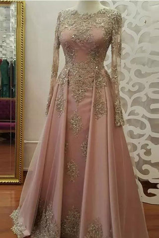 0ad7fbff37164 Floor Length Long Sleeves Prom Dress with Gold Appliques, Beaded Evening  Dresses
