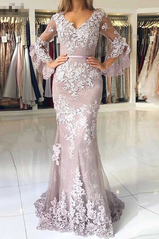 Charming V Neck Long Prom Dress, Mermaid Lace Appliqued Evening Dress with Sleeves N2025