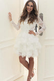 Mini Long Sleeves Layers Homecoming Dress, Short Lace Graduation Dress, Lace Prom Gown N841