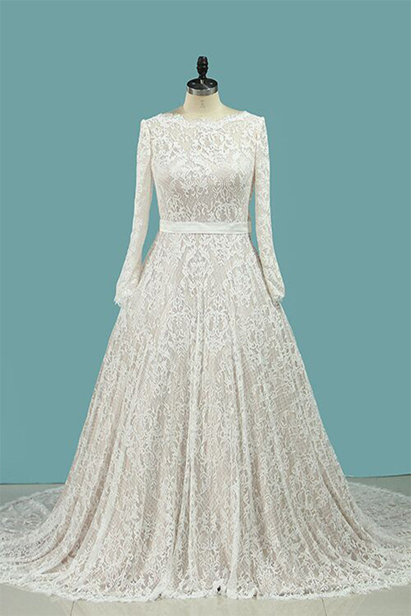 Vintage Long Sleeves Lace Wedding Dress with Sash, A Line Backless Bridal Dress