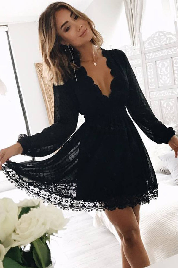 Black Deep V Neck Long Sleeves Lace Homecoming Dress, Black Short Prom Gown N954