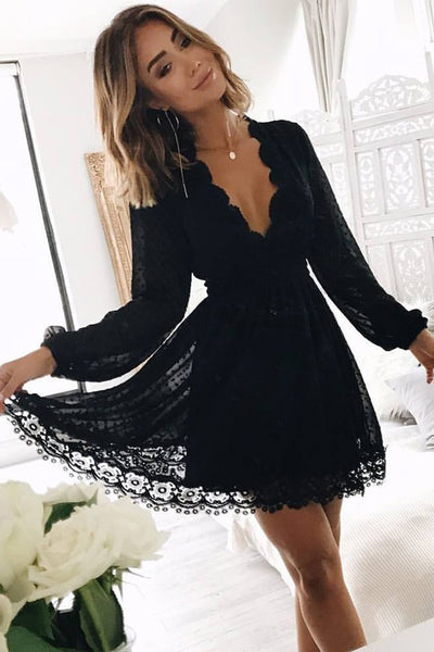 d075b73fcde Black Deep V Neck Long Sleeves Lace Homecoming Dress