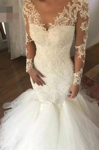Mermaid Wedding Dress with Long Sleeves, V Neck Long Bridal Dress with Lace Appliques N1436