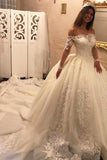 Luxury Off the Shoulder Long Sleeve Ball Gown Chapel Train Appliques Wedding Dress,N619
