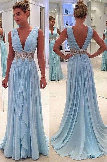 Sky Blue A Line Deep V Neck Sleeveless V Back Beading Pleats Chiffon Long Prom Dress,N417