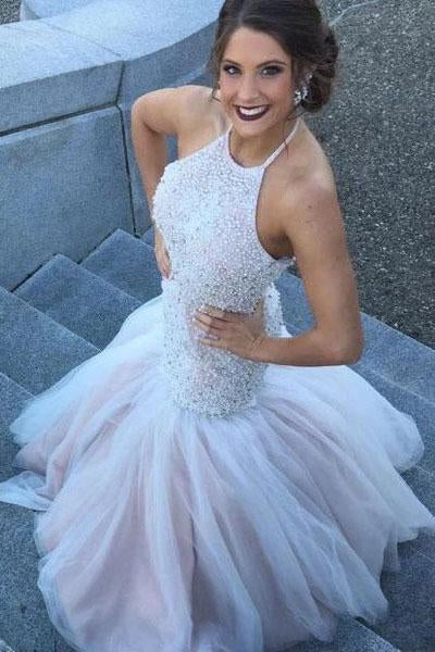 Gorgeous Halter Mermaid Beading Wedding Dresses Beaded Backless Mermaid Bridal Dress N2400