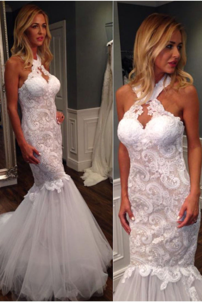 Mermaid Halter Sleeveless Tulle Wedding Dress with Lace Appliques,Long Bridal Dresses