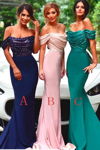 Royal Blue Mermaid Off The Shoulder Sequin Prom Dress Bridesmaid