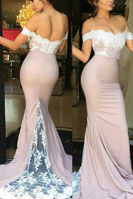 Mermaid Off the Shoulder Sweep Train Blush Pink Bridesmaid Dresses with Lace,N568