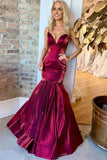 Sexy Mermaid Satin Prom Dress, Spaghetti Straps Sleeveless Floor Length Formal Dress N2469