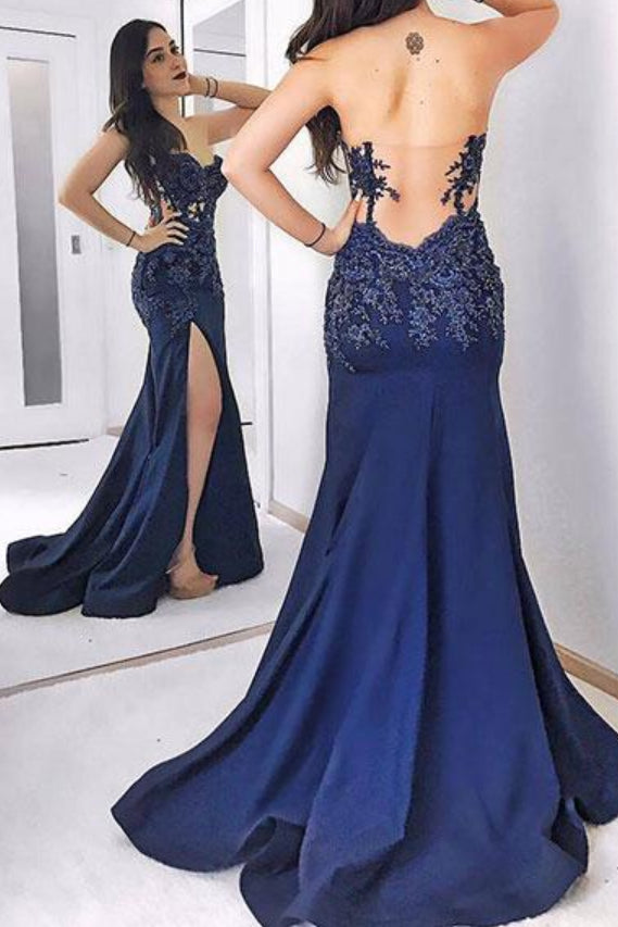 Dark Blue Strapless Long Evening Dress, Sexy Sweetheart Appliqued Prom Dresses