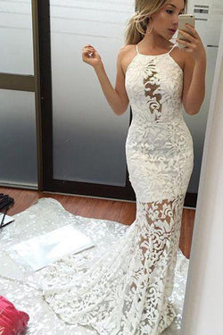 Charming Mermaid Lace Wedding Dress, Brush Train Sexy Ivory Bridal Dress, Lace Prom Gown