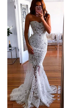 Mermaid Sweetheart Long Wedding Dress with Lace Appliques, Sexy Bridal Dress with Beads  N1312