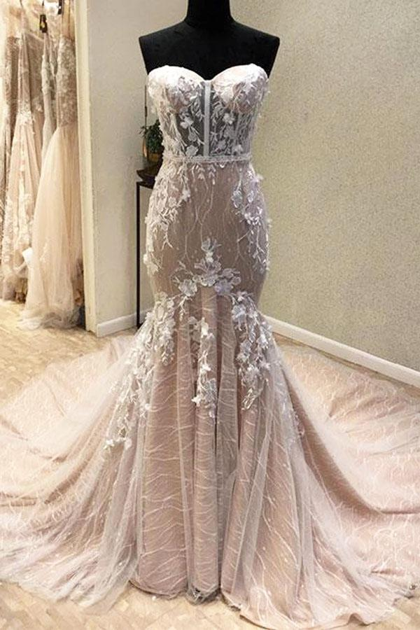 Gorgeous Sweetheart Mermaid Lace Appliqued Wedding Dresses, Strapless Bridal Dress N2532