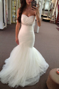 Long Mermaid Sweetheart Bridal Dress with Beads, Strapless Beach Wedding Dress N1767