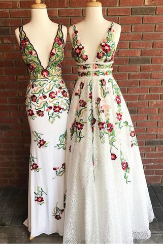 c89c6ae0e6 Cheap V Neck Prom Dresses with Sleeveless, Floor Length Formal Dress with  Appliques N1555
