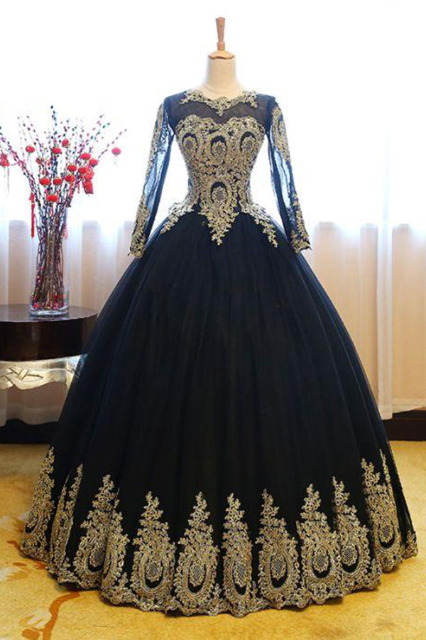 Black Ball Gown Long Sleeves Party Dress, Princess Tulle Prom Dress with Lace Appliques