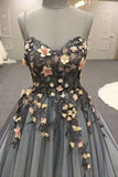 Gray Spaghetti Straps Sweetheart Long 3D Floral Cheap Tulle Prom Dresses N813