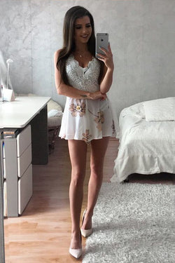 Sexy Mini Graduation Dress with Lace, Sleeveless Floral Homecoming Dress with Lace Top N1923