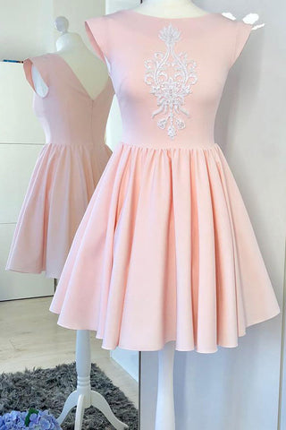 Mini Pink Cap Sleeve Satin Prom Dress with Appliques, A Line Ruched Homecoming Dress