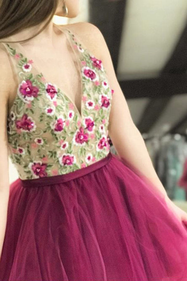 Fuchsia Mini Deep V Neck Sleeveless Tulle Homecoming Dress with Appliques, Short Prom Dress