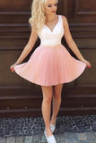 Mini Pink V Neck Sleeveless Ruched Homecoming Dress, Short Pleats Short Prom Dress N863