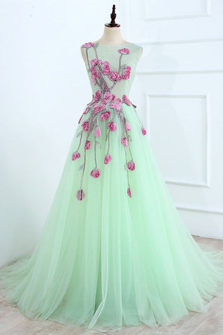 A Line Mint Green Sleeveless Tulle Formal Dress with Appliques, Long Tulle Prom Dress N1465
