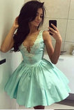 Cute Tiffany Blue V Neck Appliqued Short Homecoming Dress, Mini Graduation Dress N853