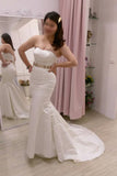 Plus Size White Mermaid Strapless Sweep Train Satin Prom Dress with Belt,Formal Dress,N444