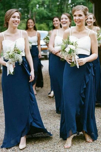 Spaghetti Straps Chiffon Long Cheap Bridesmaid Dresses with Ruffles, Unique Bridesmaid Dress N2366