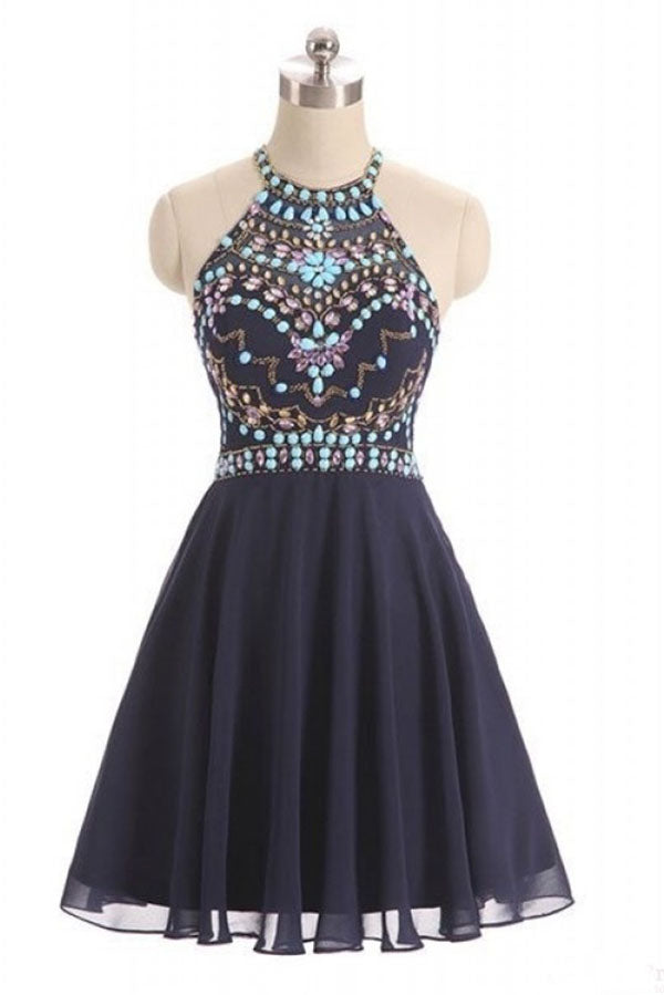 Navy Blue Halter Beading Homecoming Dress, Cheap Chiffon Ruched Graduation Dress