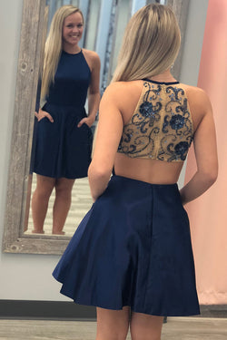 Navy Blue Satin Homecoming Dress with Beads, Cheap Short Prom Dress with Pockets N1002