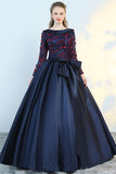 Puffy Flower Applique Floor Length Long Sleeve Satin Party Dress With Bowknot N1223