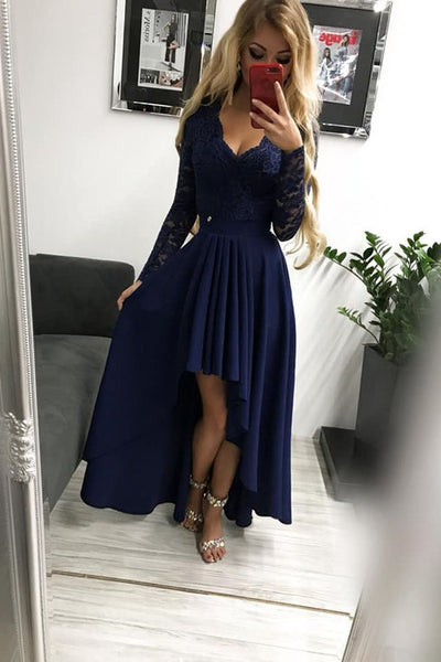 High Low Long Sleeves V Neck Prom Dress, Dark Blue A Line Graduation Dress with Lace N1690