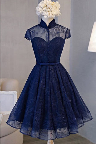 A Line Cap Sleeve Lace Homecoming Dress, High Neck Knee Length Prom Dres