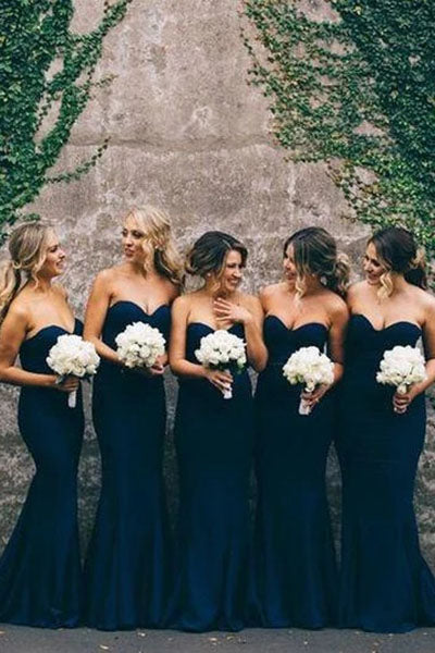 Navy Blue Sweetheart Mermaid Bridesmaid Dress, Simple Sweep Train Cheap Bridesmaid Dress N2458