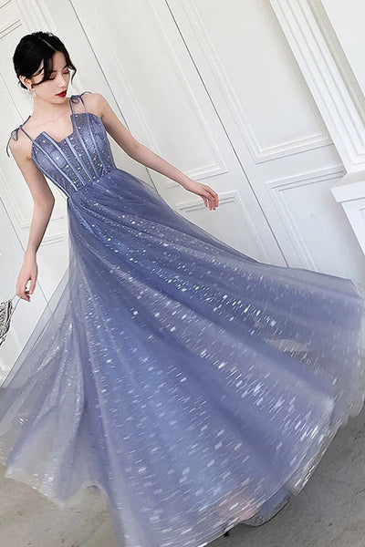Unique Sparkle Straps Floor Length Tulle Prom Dress, A Line Sleeveless Evening Dresses N2101