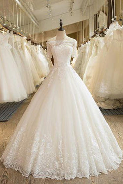 Floor Length Puffy Wedding Dresses Off-the-shoulder Ball Gown Lace Ivory Bridal Gown N1255